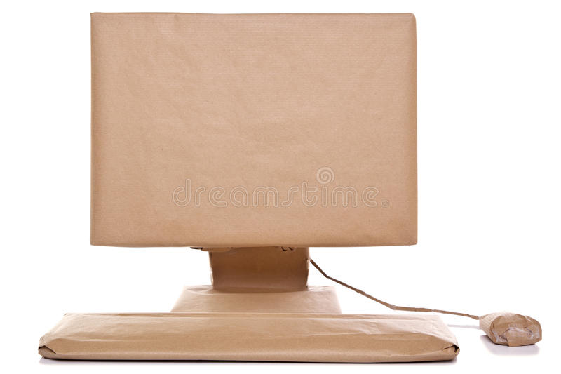 Computer Wrapped In Brown Paper Stock Image