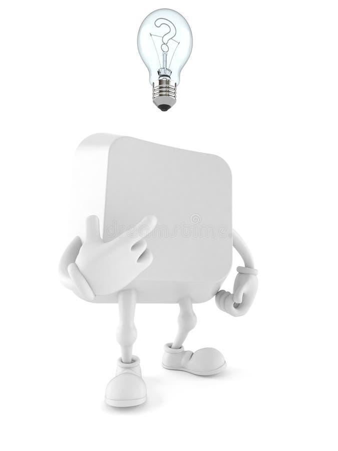 Computer zeer belangrijk karakter die een idee hebben vector illustratie