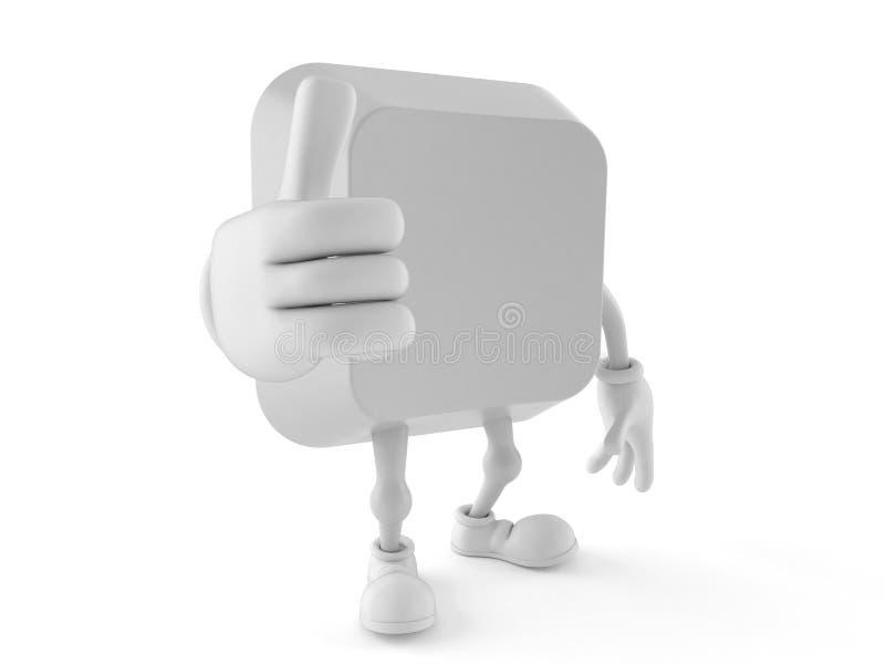 Computer zeer belangrijk karakter met omhoog duimen vector illustratie