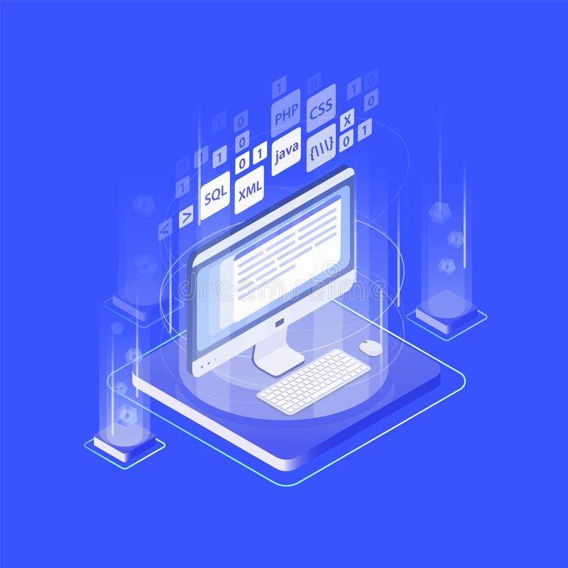 Computeranzeige, Tastatur, Mausunterlage und Programmiersprachen Web-Anwendung oder Softwareentwicklung, Internet lizenzfreie abbildung
