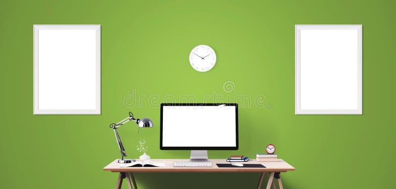 Computeranzeigen- und -bürowerkzeuge auf Schreibtisch Tischrechnerschirm lokalisiert lizenzfreie stockfotografie