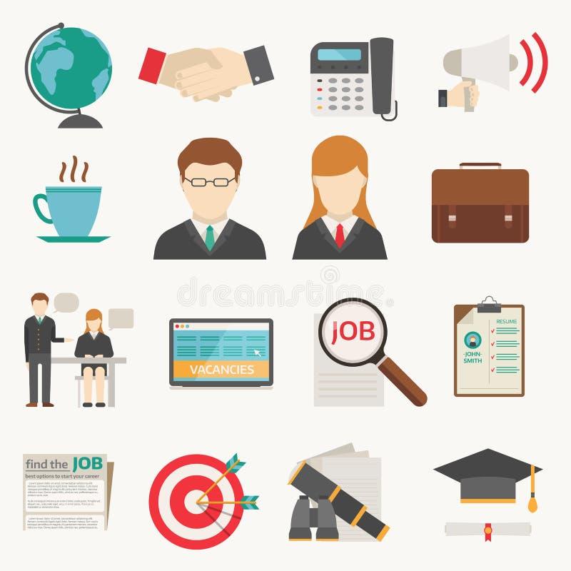Computerbürokonzeptes der Vektorjobsucheikone Einstellungsbeschäftigungsarbeitsjobsuche-Ikonenteambesprechung des gesetzten mensc stock abbildung