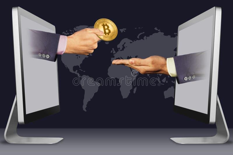 Computerconcept, twee handen van laptops hand met bitcoin en het pleiten van gebaar 3D Illustratie stock illustratie