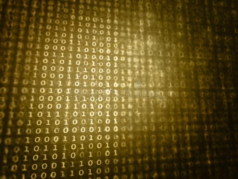 Computerdaten bezüglich des Schirmes - Goldfarbe - Dualzahlsystem lizenzfreie abbildung
