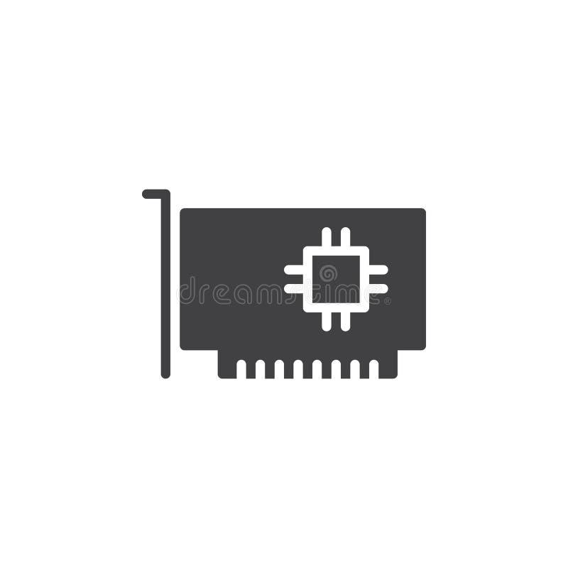 Computerdelen, de vector van het hardwarepictogram, vulden vlak teken stock illustratie