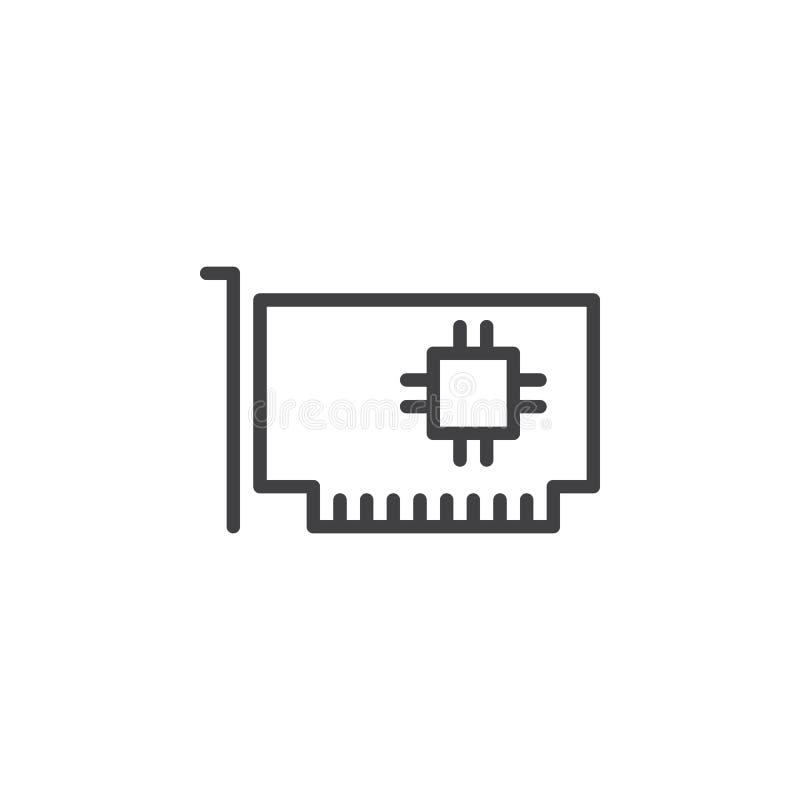 Computerdelen, het pictogram van de hardwarelijn, overzichts vectorteken stock illustratie