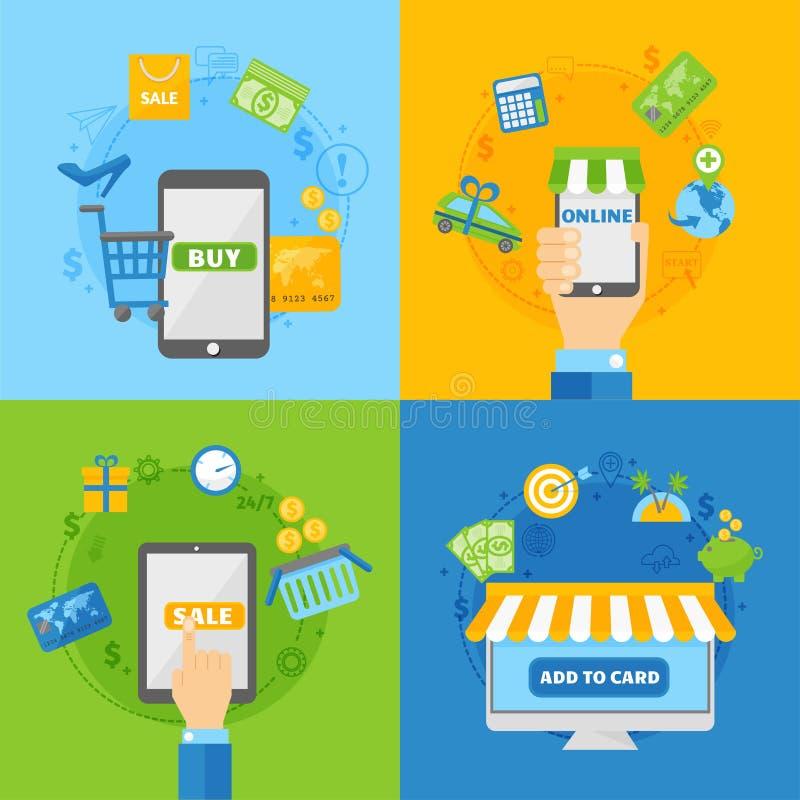 Computereinkaufskonzepte des flachen Designs der Online-Zahlungs-Methoden vector Illustration stock abbildung