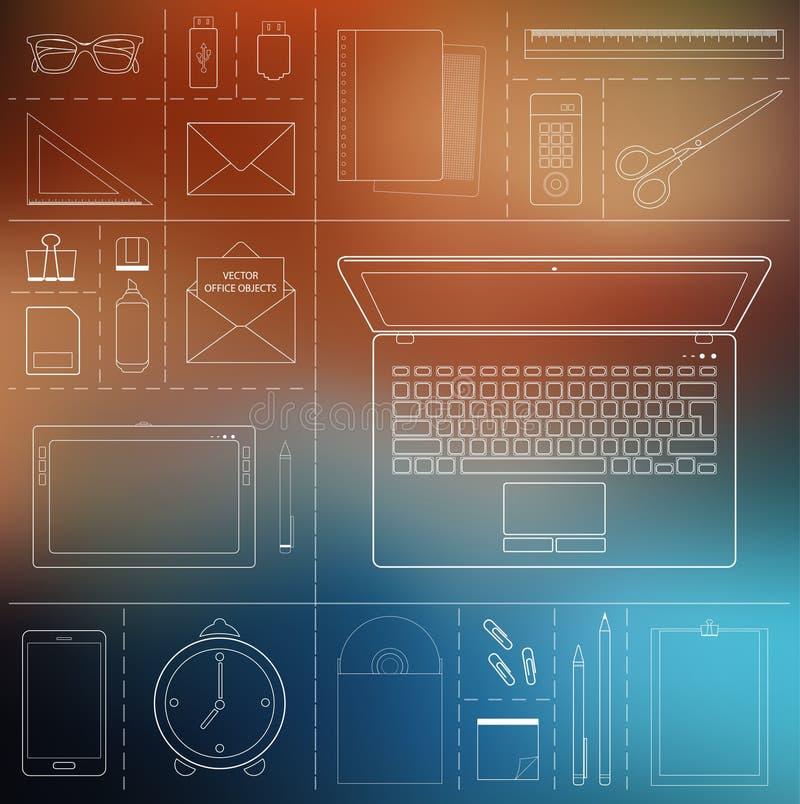 Computergerät, Bürogegenstände und Geschäftsarbeitselemente lizenzfreie abbildung