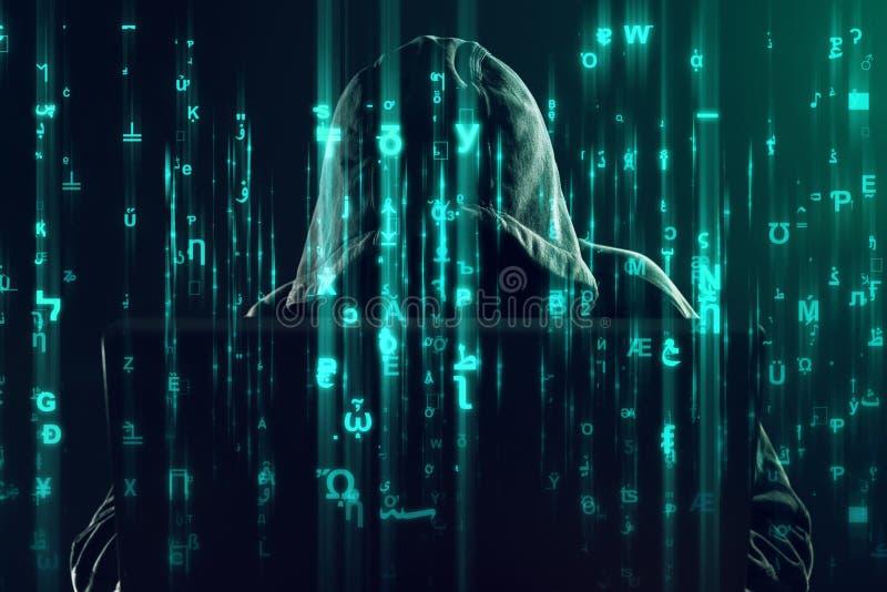 Computerhakker die aan laptop, programmeringsinsecten en virussen werken royalty-vrije stock foto's
