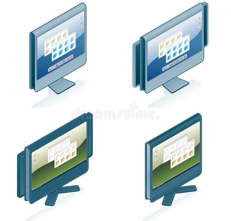 Computerhardware-Ikonen stellen ein - konzipieren Sie Elemente 55g lizenzfreie abbildung