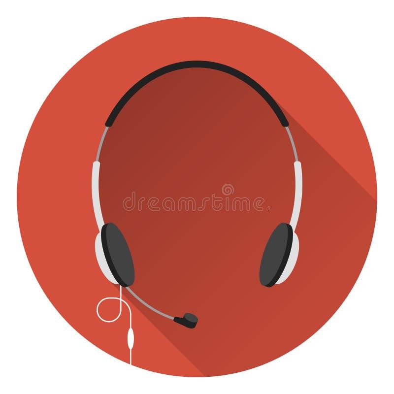 Computerhoofdtelefoons met microfoon, oranje achtergrond, vlakke stijl, pictogram vector illustratie