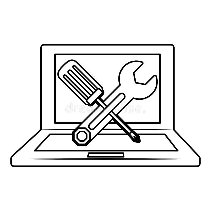 Computerikone des technischen Services lizenzfreie abbildung