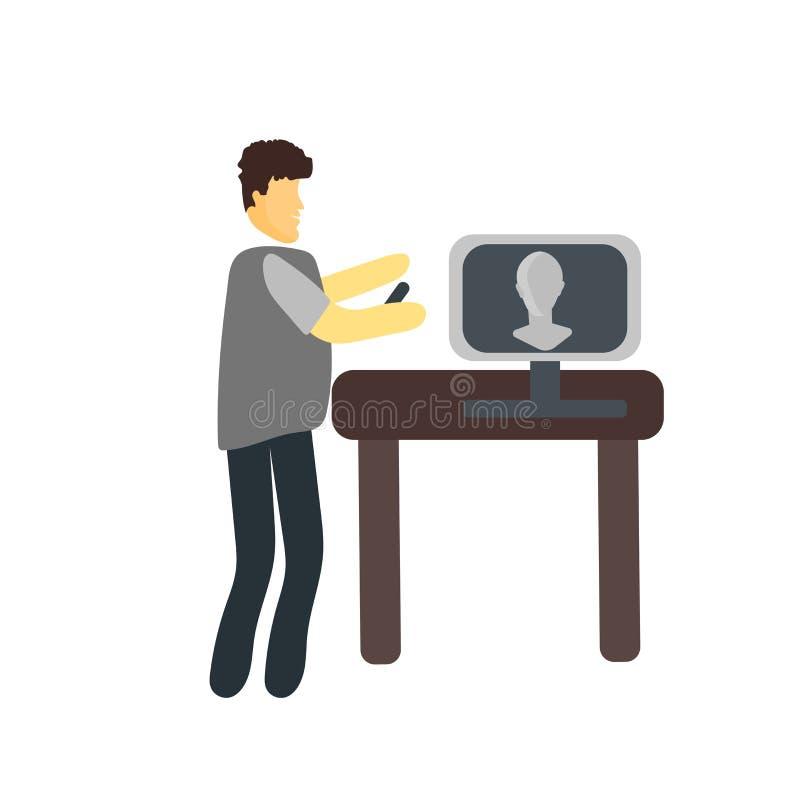 Computerikonenvektor lokalisiert auf weißem Hintergrund, Computerzeichen, stehend menschliche oder Leutezeichentrickfilm-figur-Il lizenzfreie abbildung