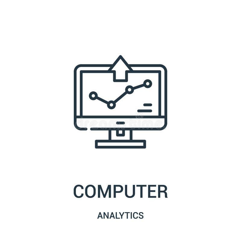 Computerikonenvektor von der Analyticssammlung D?nne Linie Computerentwurfsikonen-Vektorillustration lizenzfreie abbildung