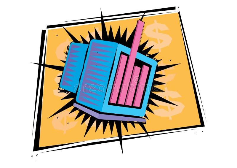 Computerillustratie en illustraties met gele achtergrond stock illustratie