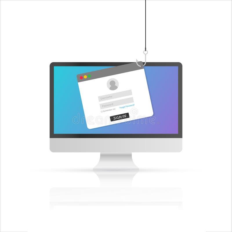 Computerinternet-Sicherheitskonzept Internet Phishing, zerhackte Anmeldung und Passwort Auch im corel abgehobenen Betrag vektor abbildung