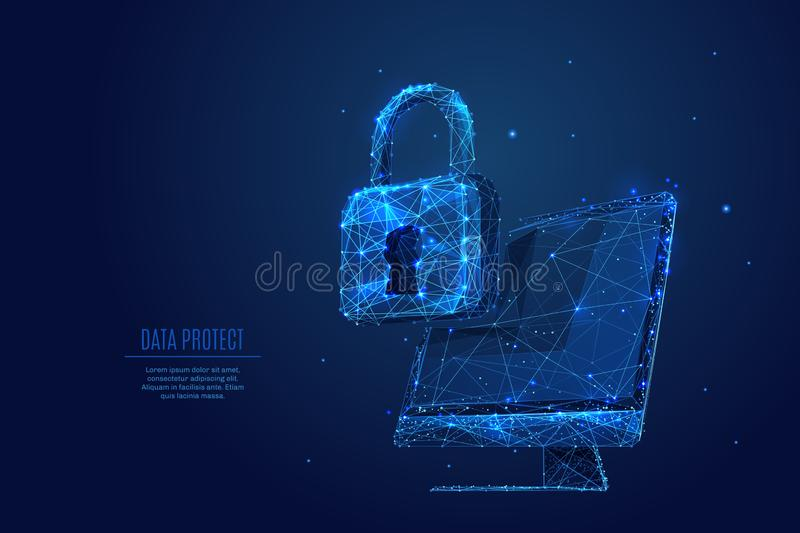 Lock and Computer monitor screen low poly. Data Protect. Lock on computer monitor screen. Vector low poly wireframe in the form of starry sky or space stock illustration