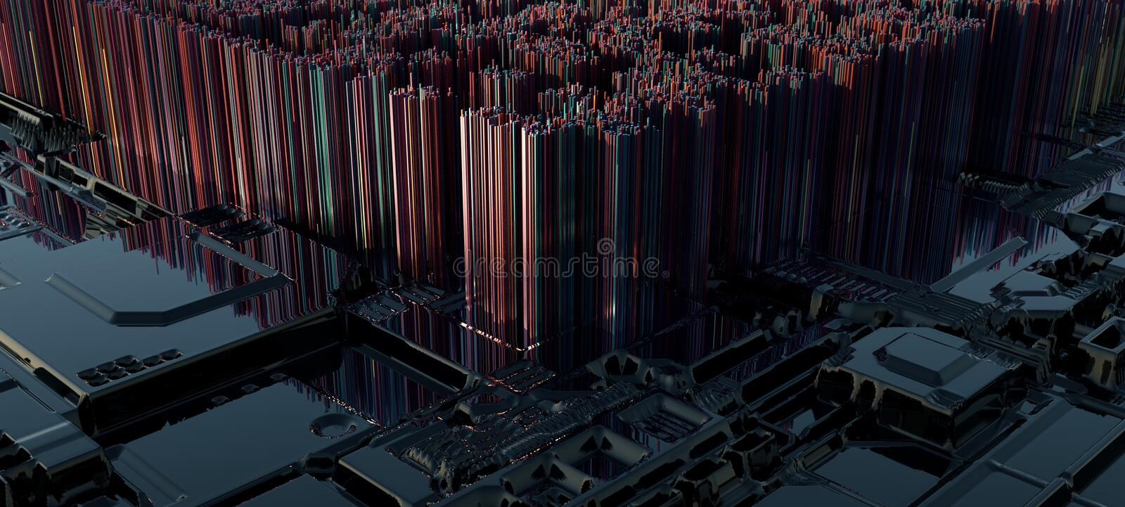 Computerized Processor City. Created and rendered in Cinema 4D. This image is an abstract imagination of a city built literally on a processor, alluding to the royalty free illustration