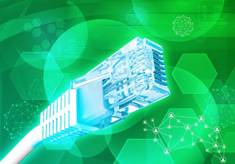 Computerkabel met molecules royalty-vrije illustratie