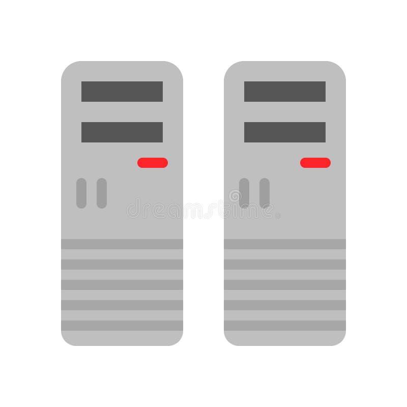 Computerkastenvektor, flache Artikone des elektronischen Geräts stock abbildung