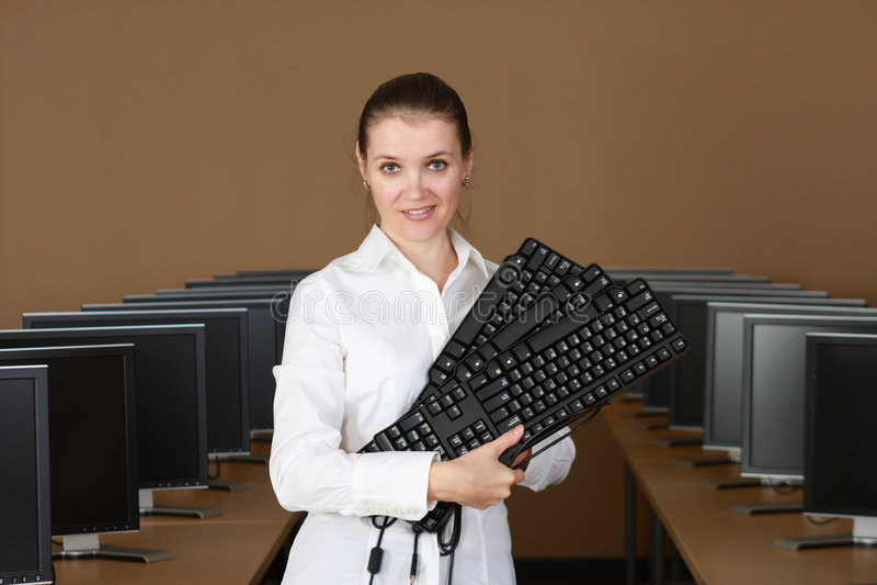 In computerlaboratorium royalty-vrije stock afbeelding
