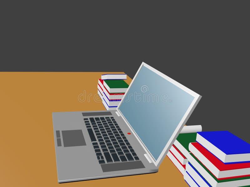 Computerlaptop en de boeken stock afbeelding