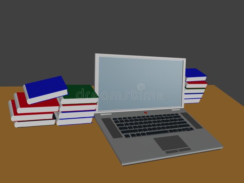 Computerlaptop en de boeken stock foto's