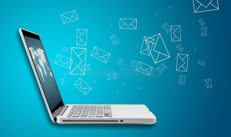 Computerlaptop senden E-Mail-Konzept