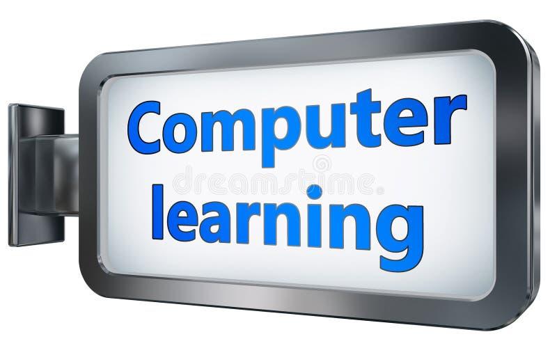 Computerlernen auf Anschlagtafelhintergrund vektor abbildung