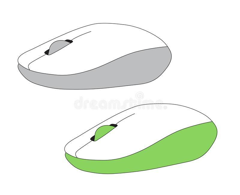 Computermäuseeinfaches flaches Art-Ikonenbild des PC zwei grauen mou stock abbildung