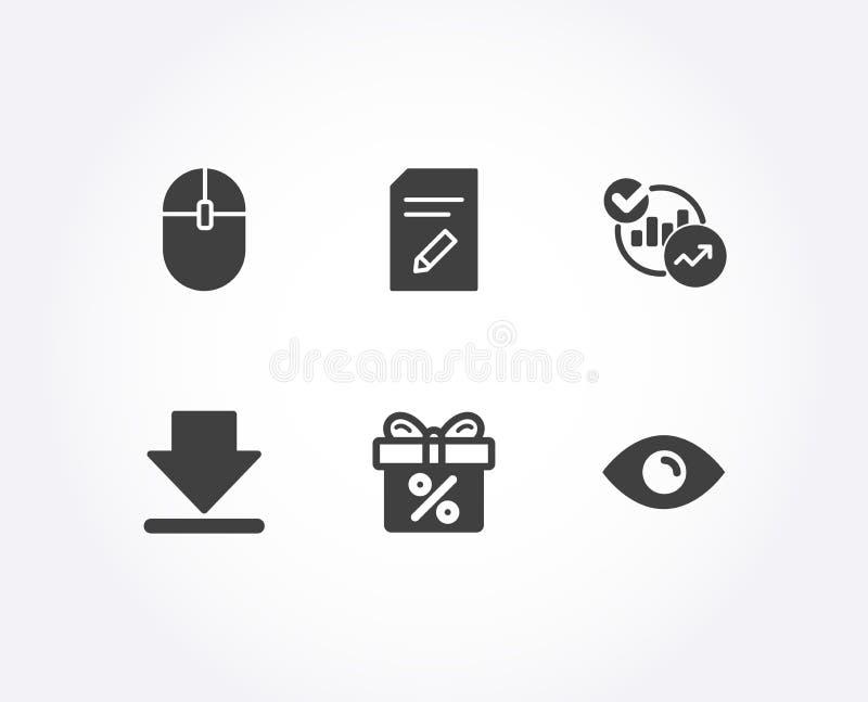 Computermaus, Downloading- und Statistikikonen Redigieren Sie Dokument, Rabattangebot und Augenzeichen vektor abbildung