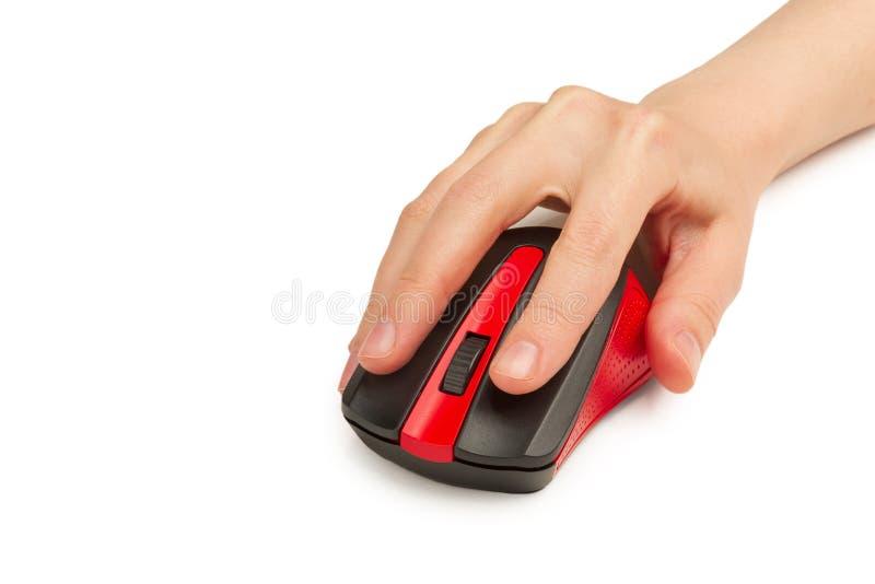 Computermaus drahtlos USB in Handarbeitnehmerin isoliert auf weißem Hintergrund stockfotografie