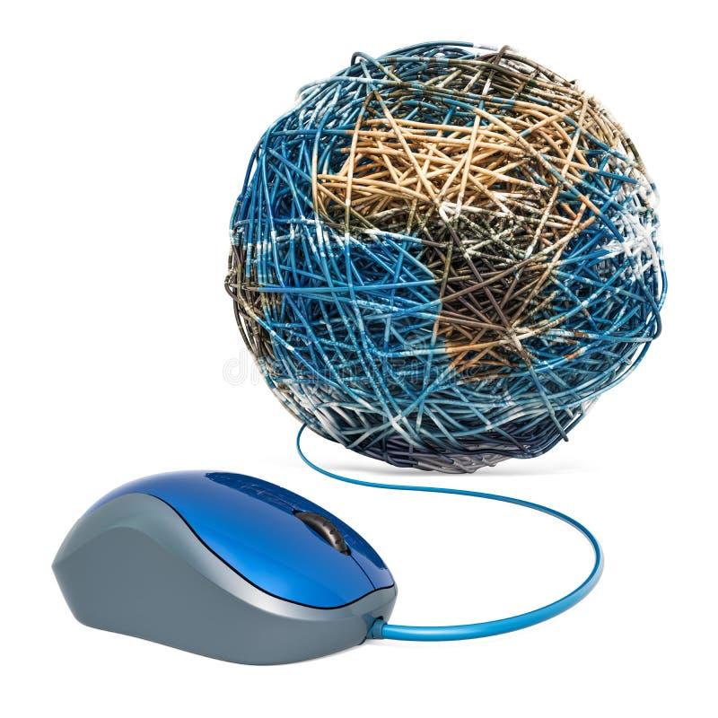 Computermaus mit Erdkugel von lan-Kabel Konzept des globalen Netzwerks Wiedergabe 3d vektor abbildung