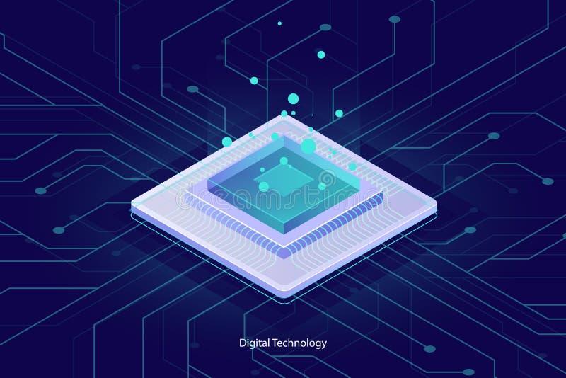 Computermikrochip-CPU, isometrische Ikone, abstrakter Begriff der Datenverarbeitung, Element der datenverarbeitenden, Digitaltech stock abbildung