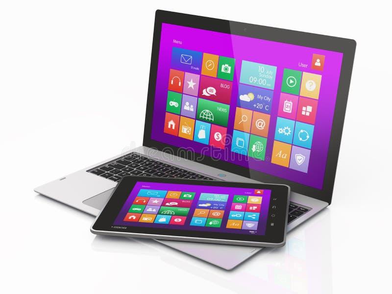 Computermobilität und Tablette PC. Intrface lizenzfreie abbildung