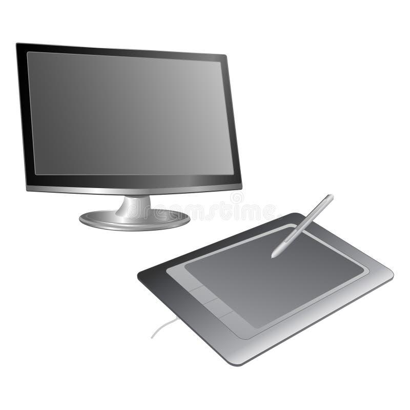 Computermonitor en grafiektablet royalty-vrije illustratie