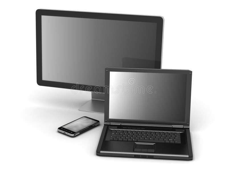 Computermonitor, laptop en mobiele telefoon stock illustratie