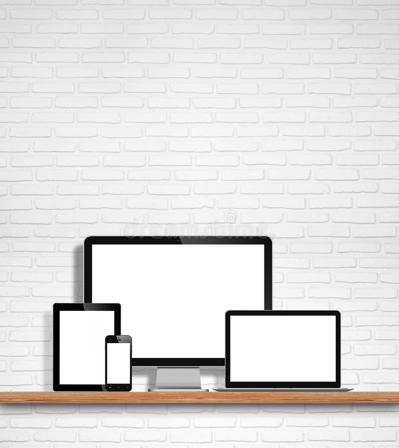 Computermonitor, laptop, tabletpc en mobiele telefoon royalty-vrije illustratie