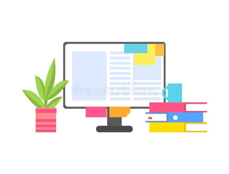 Computermonitor met Document Stickers en Documenten vector illustratie