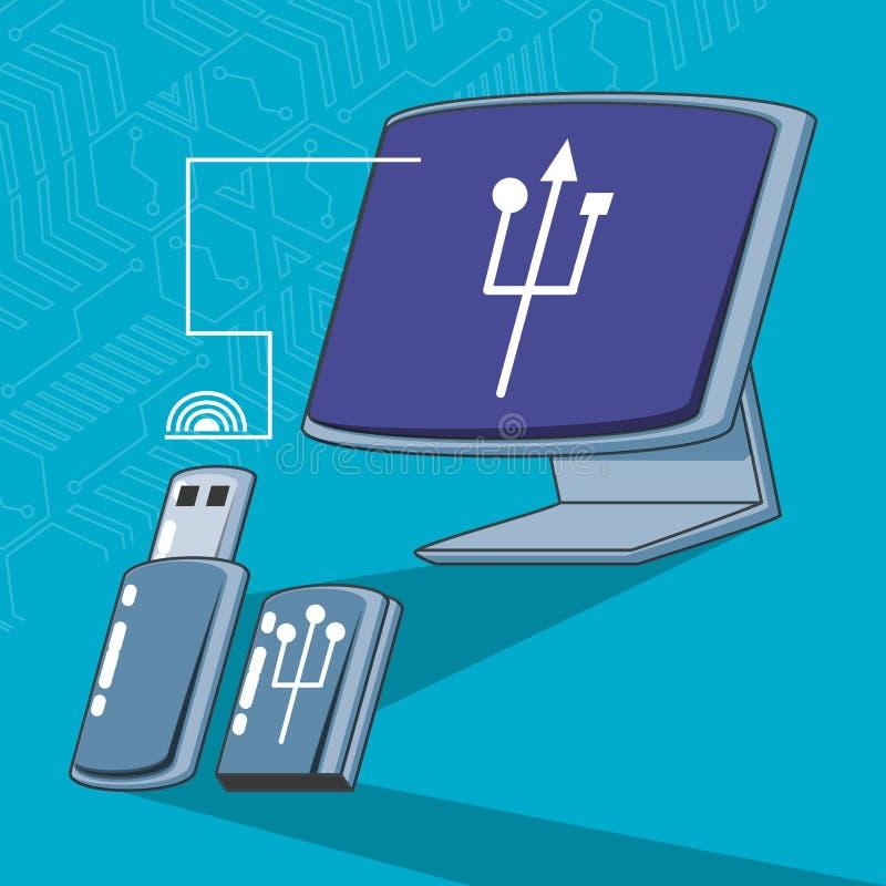 Computermonitor met geheugen usb vector illustratie