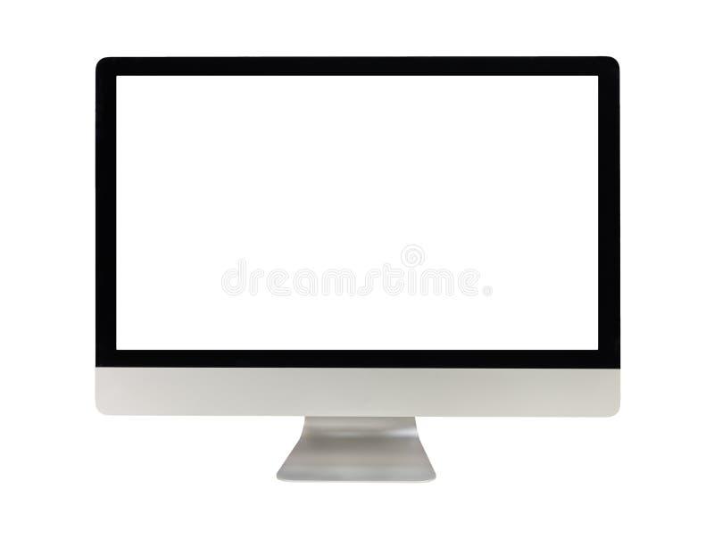 Computermonitor met het witte scherm stock fotografie