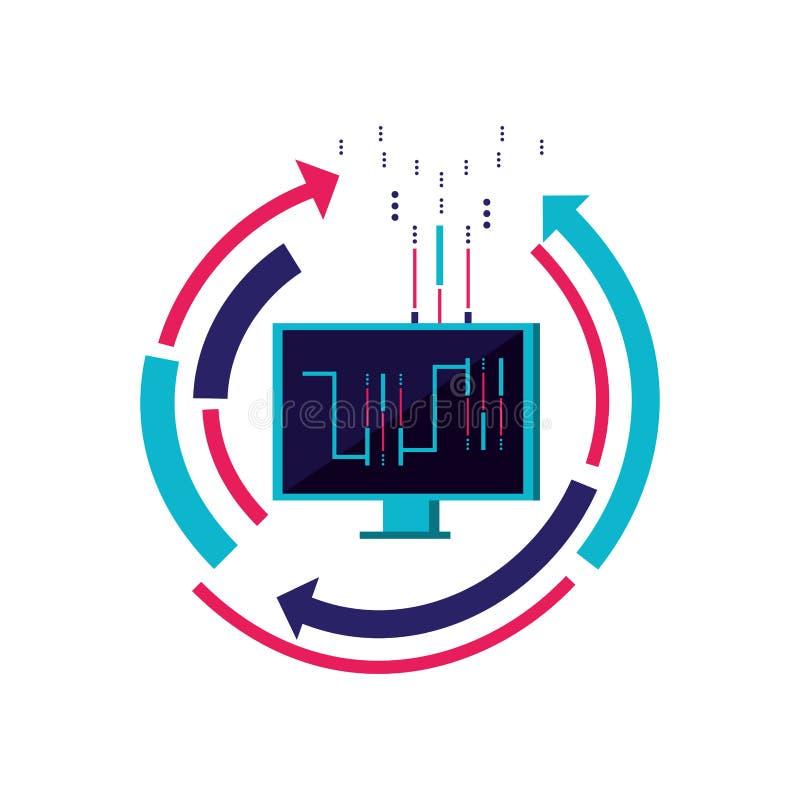 Computermonitor met kring en pijlen royalty-vrije illustratie