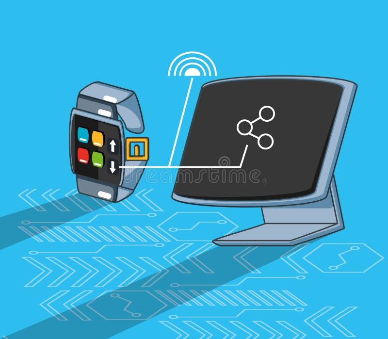 Computermonitor met smarthwatch vector illustratie