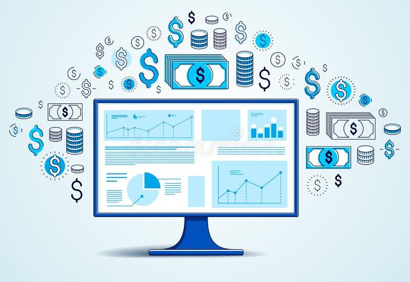 Computermonitor mit Statistiken infographics und Satz Ikonen, on-line-Geschäft, elektronische Finanzen des Internets lizenzfreie abbildung
