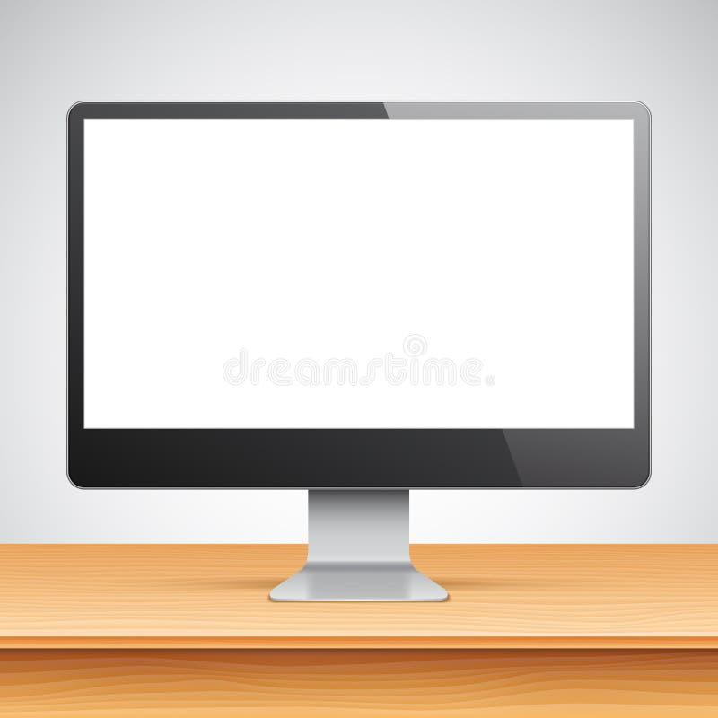 Computermonitor op lijst royalty-vrije illustratie