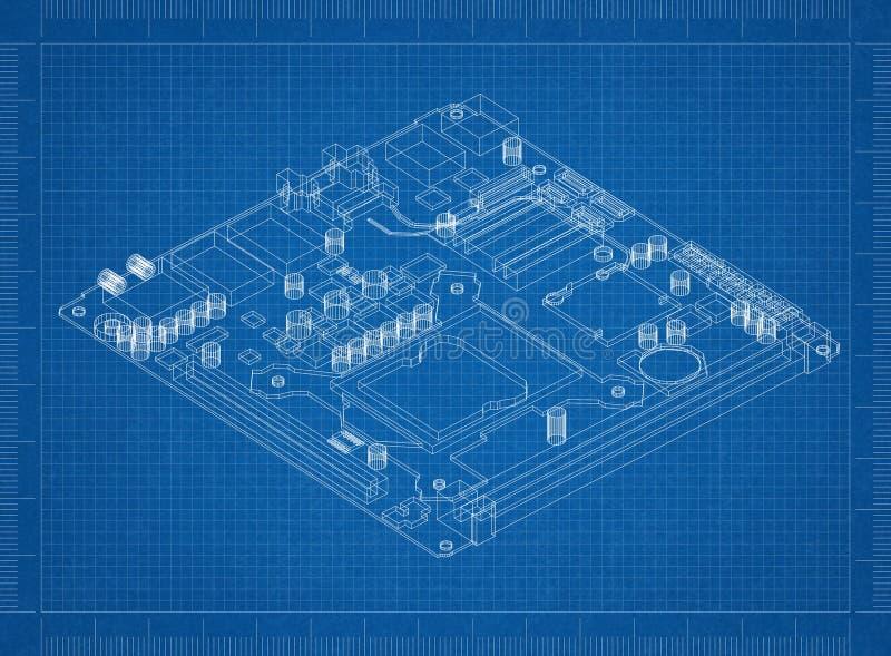Computermotherboard Architectenblauwdruk stock foto
