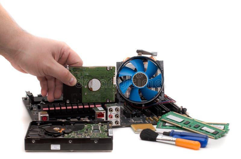 Computermotherboard met een mening van delen en componenten stock afbeelding