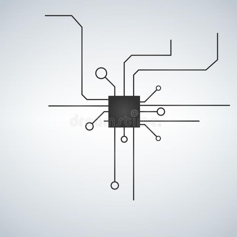 Computermotherboard vectorachtergrond met de elektronische elementen van de kringsraad Spaander elektronisch voor motherboar comp stock illustratie