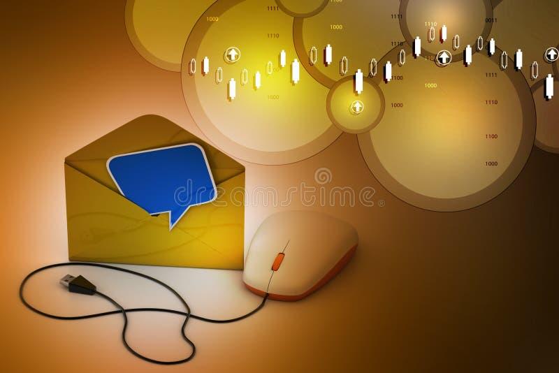 Computermuis aan e wordt aangesloten - post die stock illustratie