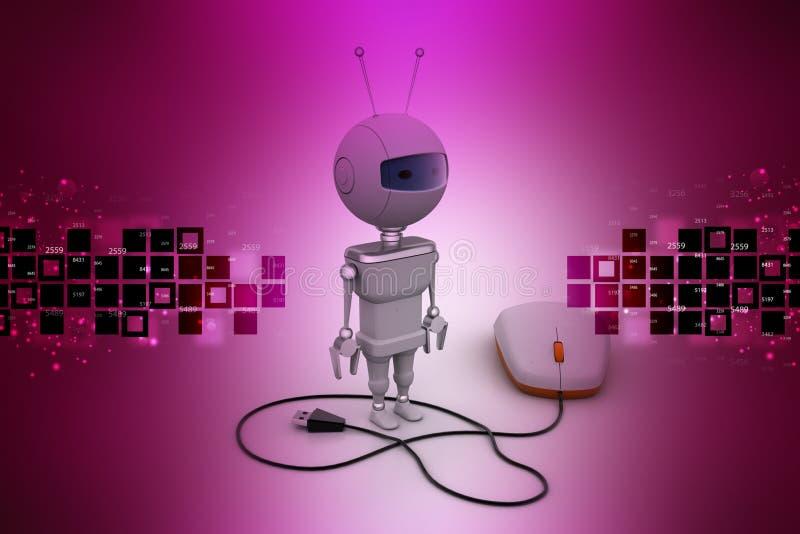 Computermuis aan robot wordt aangesloten die vector illustratie